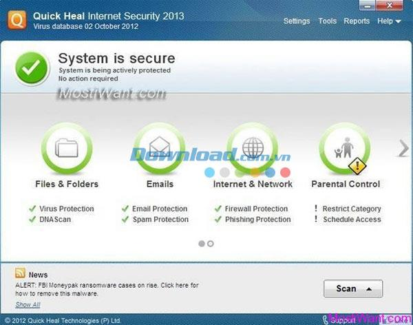؛ Quick Heal Internet Security Premium - تصفح الويب بأمان