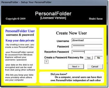 برنامج PersonalFolder 1.0.1 - برنامج أمان البيانات الشخصية