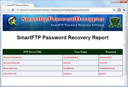 ؛ SmartftpPasswordDecryptor 2.0 - استعادة كلمات مرور تسجيل الدخول إلى FTP
