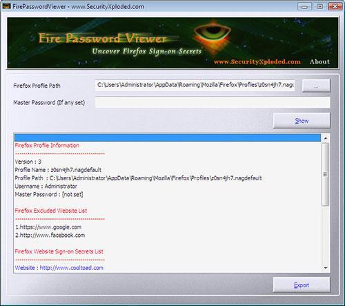 FirePasswordViewer 5.0 - يفك تشفير كلمات المرور المخزنة على Firefox