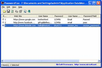 PasswordFox 1.36 - أداة استعادة كلمة المرور المدمجة
