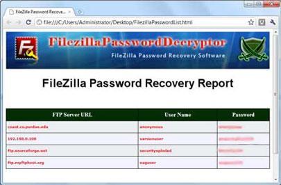 ؛ FilezillaPasswordDecryptor 2.0 - استعادة كلمات المرور المخزنة بواسطة FileZilla
