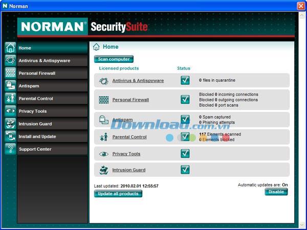 Norman Security Suite PRO 10.1 - برنامج أمان الكمبيوتر بشكل فعال