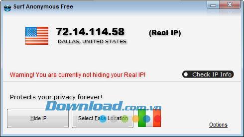 Surf Anonymous Free 2.5.8.8 - أداة IP وهمية لتصفح الويب بشكل أكثر فعالية