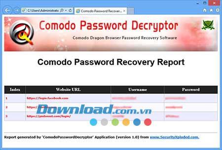 ؛ Comodo Password Decryptor 1.5 - استعادة كلمات المرور على متصفح Comodo Dragon