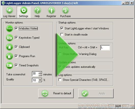 LightLogger 4.0.7.2 - برنامج مراقبة الكمبيوتر