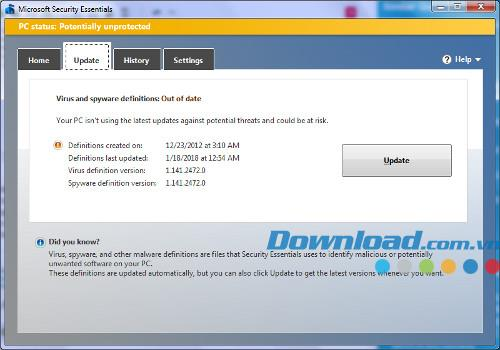 تحديثات تعريف Microsoft Security Essentials - تعريف محدث لـ Microsoft Security Essentials