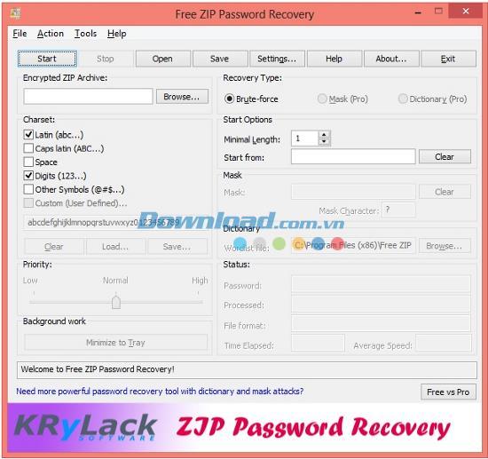 Free ZIP Password Recovery 3.45.58 - استرجع كلمات مرور ملفات Zip المشفرة