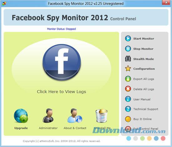 Facebook Spy Monitor 2.26 - التحكم في الوصول إلى Facebook