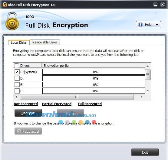 idoo Full Disk Encryption 1.0 - أداة قوية لتشفير القرص الصلب