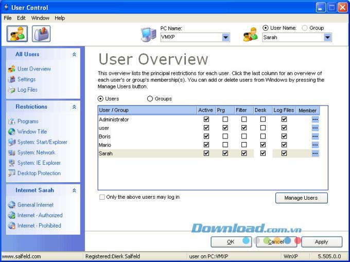 User Control 10.460 - التحكم في مستخدمي الكمبيوتر