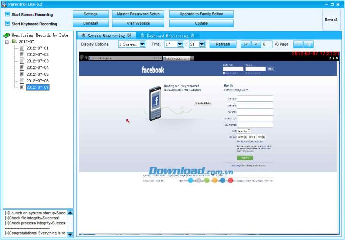 Parentrol Lite Edition 6.85 - مراقبة أنشطة الأطفال عبر الإنترنت