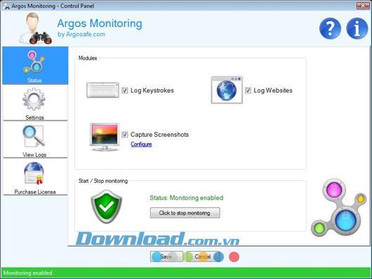 Argos Monitoring 1.64 - تسجيل النشاط على الكمبيوتر