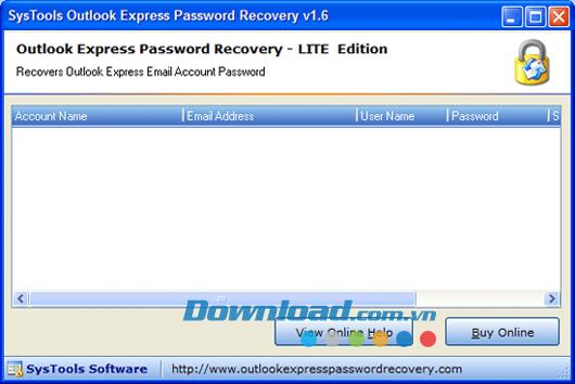 SysTools Outlook Express Password Recovery 1.6 - استعادة استعادة كلمة مرور Outlook Express