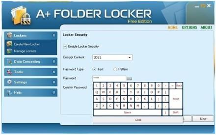 A + Folder Locker Free Edition 1.1 - أداة تشفير للمساعدة في تأمين البيانات