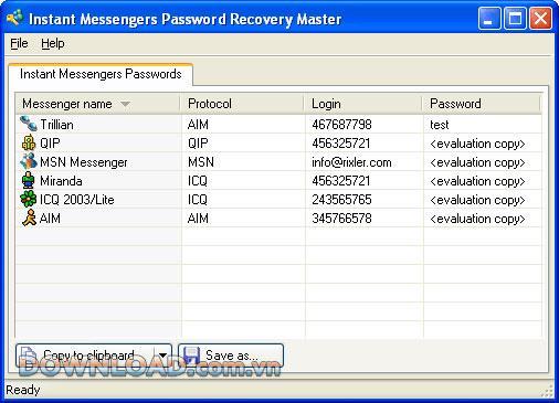 ؛ Instant messenger Password Recovery Master - استعادة كلمات مرور حساب الدردشة