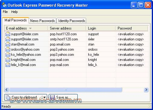 ؛ Outlook Express Password Recovery Master - استعادة كلمات مرور Outlook Express