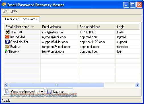 ؛ Email Password Recovery Master - استعادة كلمات مرور البريد الإلكتروني