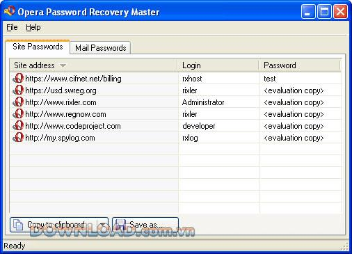 Opera Password Recovery Master - استعادة كلمة مرور Opera