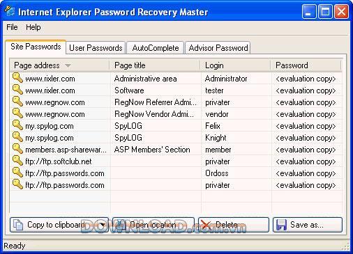 ؛ Internet Explorer Password Recovery Master - استعادة كلمات مرور Internet Explorer