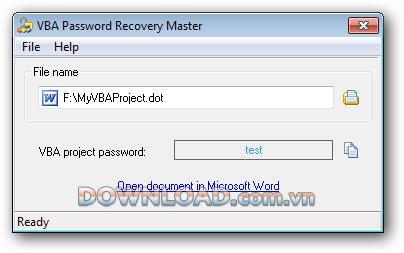 ؛ VBA Password Recovery Master - استعادة كلمات مرور VBA