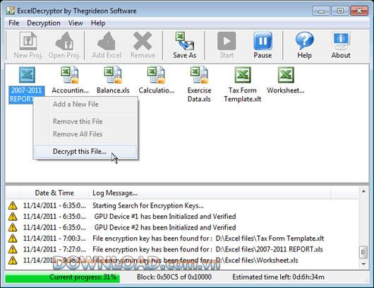 ؛ ExcelDecryptor - إعادة تعيين كلمة مرور جداول البيانات وقوالب MS Excel