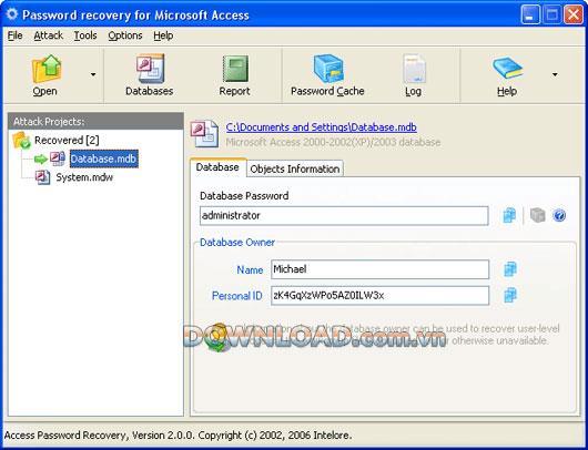 Intelore Access Password Recovery - يستعيد كلمات مرور الوصول