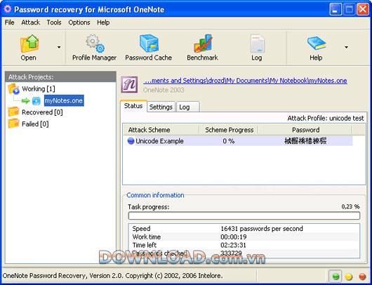 ؛ OneNote Password Recovery - استرداد كلمات مرور Microsoft OneNote