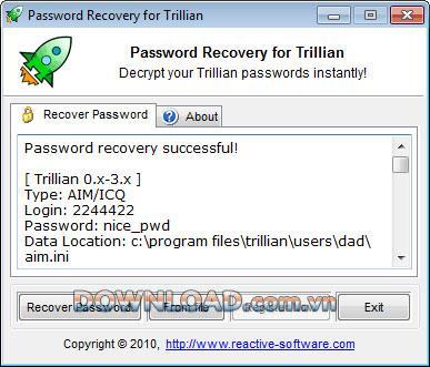 استعادة كلمة مرور تريليان التفاعلية - استعادة كلمة مرور تريليان