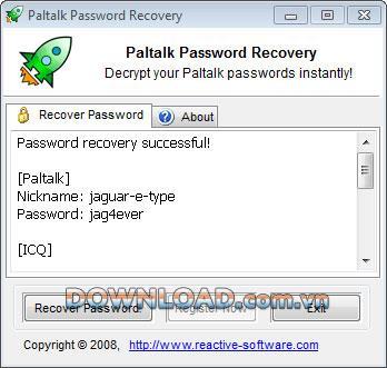 ؛ Reactive Paltalk Password Recovery - استعادة كلمات مرور البالتوك
