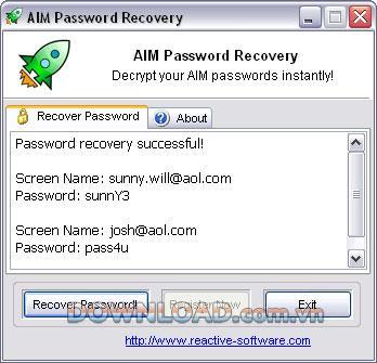 Reactive AIM Password Recovery - استعادة كلمة مرور AIM