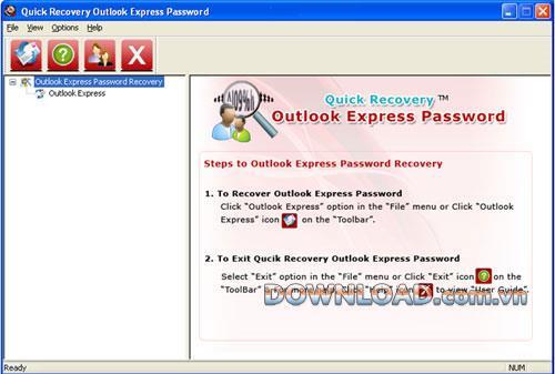 Schnelle Wiederherstellung Outlook Express-Kennwort - Wiederherstellen von Outlook Express-Kennwörtern