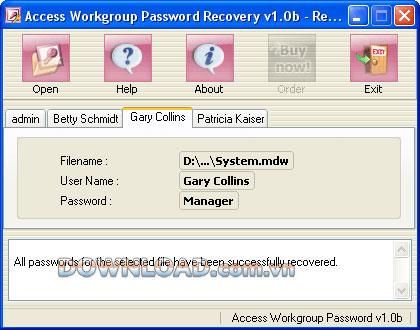 Access Workgroup Password Recovery - يستعيد كلمات مرور الوصول