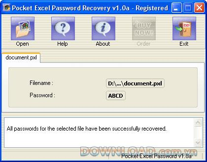 Pocket Excel Password Recovery - استعادة كلمة مرور Pocket Excel