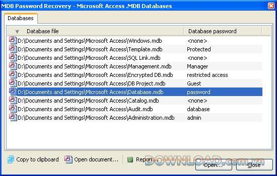 MDB Password Recovery - يستعيد كلمات مرور الوصول