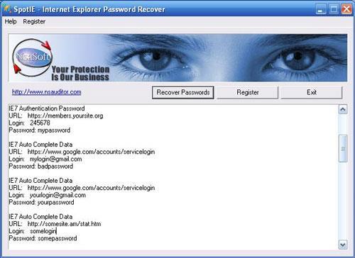 SpotIE Password Recovery - برنامج استعادة كلمة المرور لبرنامج Internet Explorer