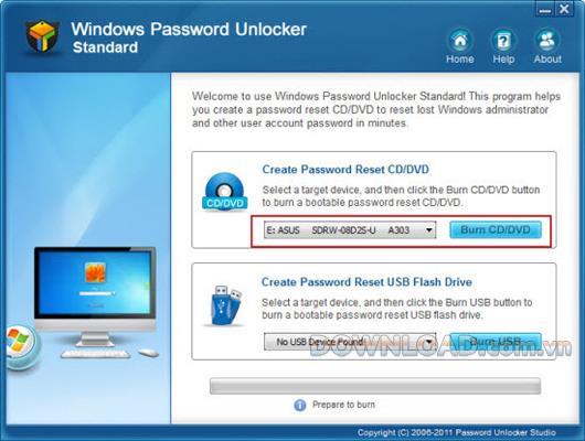 Windows Password Unlocker Standard - إعادة تعيين كلمات مرور Windows المنسية