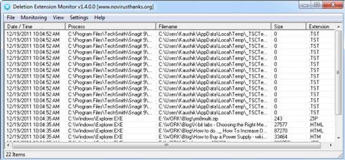؛ Deletion Extension Monitor Portable - تتبع الملفات المحذوفة بدقة