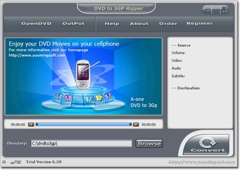 A-one DVD vers 3GP Ripper