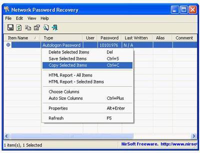 Netzwerkkennwortwiederherstellung (64-Bit)
