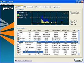 Prisma Firewall 1.5.3 - Protégez votre ordinateur lorsque vous surfez sur le Web