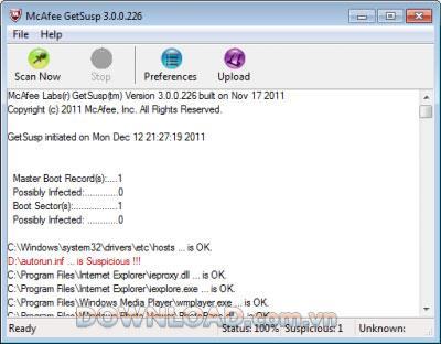 McAfee GetSusp - Détecter les logiciels malveillants