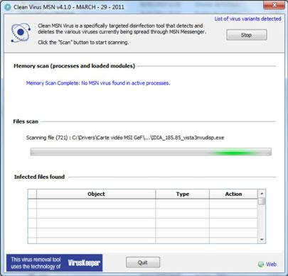 Reinigen Sie die Virus-MSN
