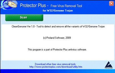 Kostenloses Tool zum Entfernen von Viren für W32 / Genom-Trojaner