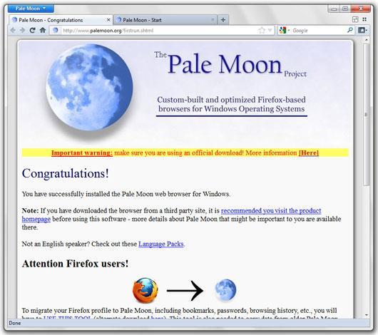 Pale Moon Portable 28.9.3 - Surfen Sie mit dem Pale Moon Browser im Internet