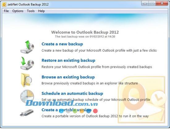 zebNet Outlook Backup 2012 3.4.12 - Backup Outlook-Einstellungen