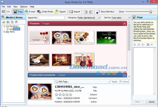 Sony Photo Go1.0.0.1-写真管理および編集ソフトウェア