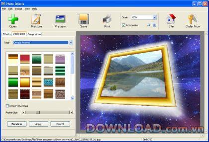写真効果-プログラムは画像処理をサポートしています