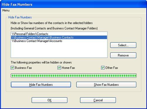 Faxnummern in Outlook ausblenden