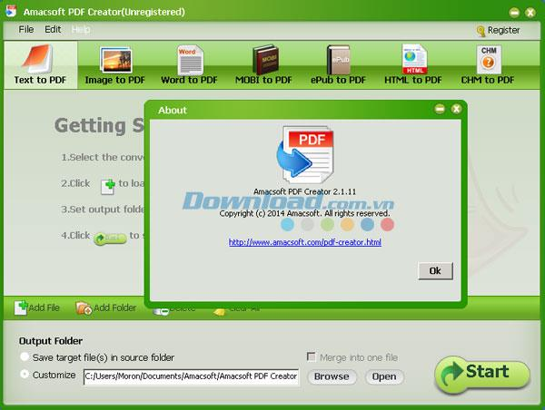 Amacsoft PDF Creator2.1.11-PDFファイルをすばやく作成するソフトウェア